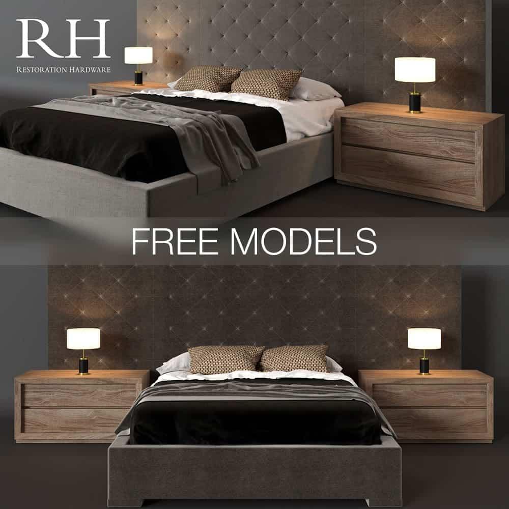 Free Bed RH 3D Models | Aleksander Gorbachev