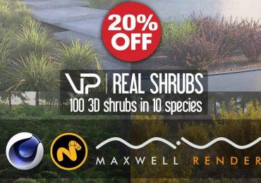 SALE OFF 20% VIZPARK   Real Shrubs for CINEMA 4D, MODO, Maxwell Render