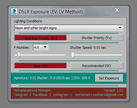 MAXScripts - DSLR Exposure (EV-LV Method) | Mohammadreza Mohseni
