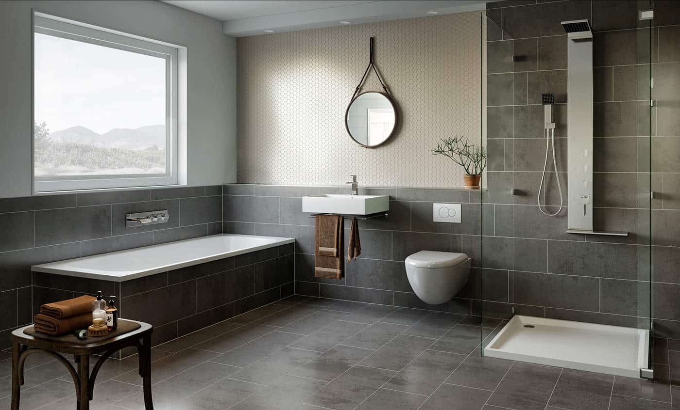... exterior and interior 3d visualization, graphic and industrial design projects. Today, they have shared with us this free scene The Bathroom Gray.
